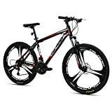 Hiland 26 Inch Mountain Bike Aluminum MTB Bicycle with 17 Inch Frame Kickstand Disc-Brake Suspension Fork Cycling Urban Commuter City Bicycle 3-Spokes Black Red