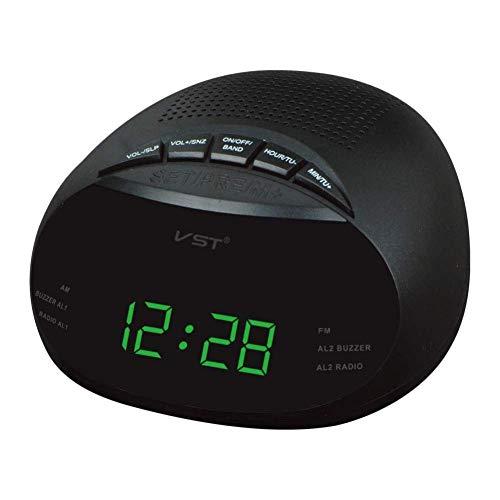 Alarma Digital Reloj de Mesa LED Reloj con Am y FM Canal de Radio de Radio Reloj Despertador múltiples, 13.5 * 6.5 * 13.5 cm Reloj Despertador (Color : Green, Size : 13.5 * 6.5 * 13.5 cm)