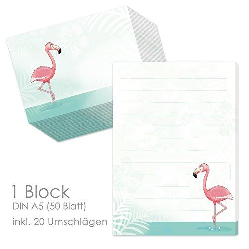 """Schreibblock/Briefblock""""FLAMINGO"""" DIN A5 (liniert 50 Blatt) inklusive 20 passenden Umschlägen/Briefpapier für Kinder/Briefpapierset Kinder/Briefpapier für Mädchen"""