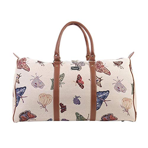 Signare Tapestry Large Duffel Bag Overnight Bags Weekend Bag for Women with Garden Design (Butterfly, BHOLD-Butt)