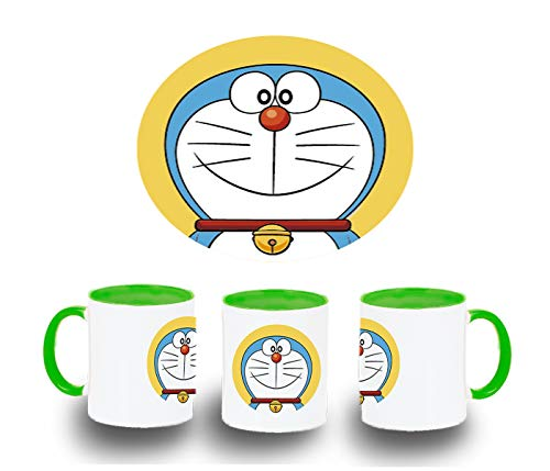 MERCHANDMANIA Taza Verde Gato Azul Serie NIÑOS Color mug