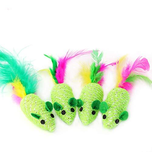 SZMYLED Katzenspielzeug, Katzenmaus, Federmaus, Katzenspielzeug, interaktives Katzenspielzeug mit Geräuschen, bissfest, kratzfest, wie abgebildet.