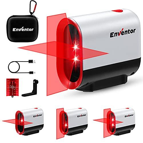 Kreuzlinienlaser Roter, ENVENTOR Y011R Selbstnivellierend Linienlaser 35M ± 0,3 mm/m, Dual-Lasermodul, IP54 Schutzlevel Laser Wasserwaage inkl. Magnet Halterung, USB Aufladung & Schutztasche