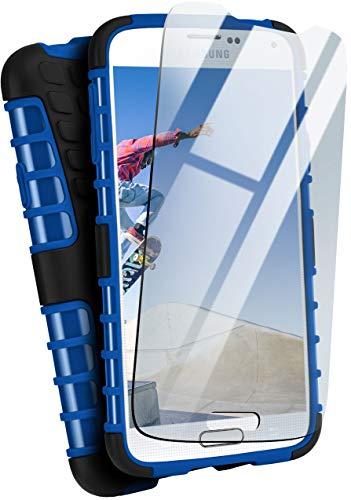 moex Panzerhülle kompatibel mit Samsung Galaxy S5 / S5 Neo - Handyhülle mit Panzerglas, extrem stoßfest, Panzer Outdoor Hülle 360 Grad, Blau Schwarz