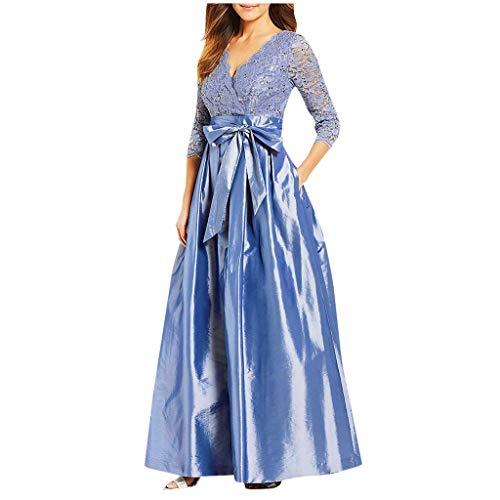 WoWer Damen Elegant Vintage Spitzenkleid Hochzeit Faltenrock Langes Kleid Ballkleid Abendkleid Abschlusskleid Elegant Festliches Brautjungfernkleid Abiballkleid Spitzenkleider Cocktailkleider