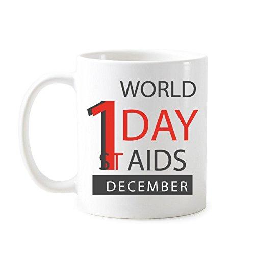 DIYthinker Conciencia de diciembre de 1 ª Mundial del SIDA día solidario vih Taza clásica Blanco símbolo cerámica cerámica Regalo de la Taza de la Leche del café con Asas 350 ml