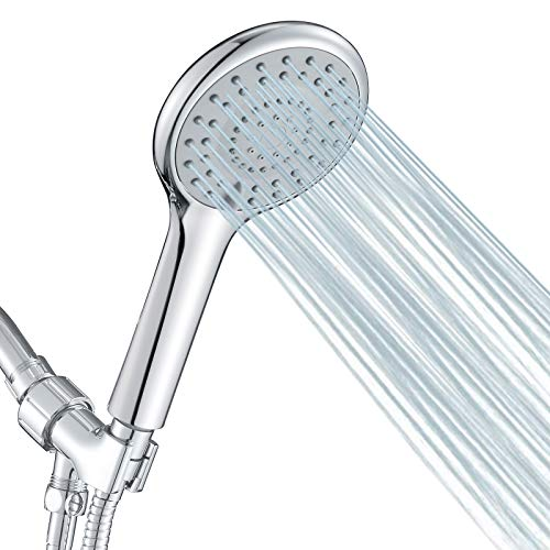 FYRLLEU High Pressure Shower Head with Handheld 5 Functions Shower Head Handheld High Flow Handheld Shower Head with Hose Bracket Rubber Washers