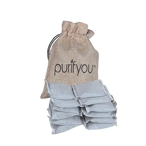 purifyou 100% Natural Bamboo Charcoal Air Purifying Bag - Set of 12 Carbon Filters | Deodorizer Bags, Odor Absorber for Diaper Pail, Trash, Shoes, Closets, Cars, Fridge, Pets