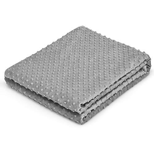 COSTWAY Bettbezug für beschwerte Decke, Bettwäsche Ultra-weich, Bettdeckenbezug, Deckenbezug für Erwachsene, grau (S / 104 x 152,4 cm)