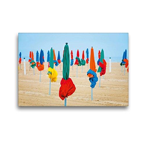 CALVENDO Premium Textil-Leinwand 45 x 30 cm Quer-Format Strand von Deauville, Leinwanddruck von Wolfgang Zwanzger