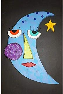 Kinks & Quirks Large Blue Wall Art Moon by Tra Art Studio…