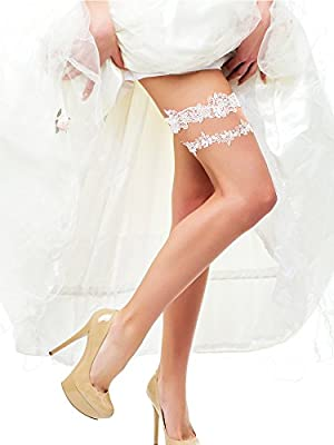 BBTO 2 Pieces Flower Leaf Style Garter Wedding Garter Bridal Garter Stretch Garter Belt (white)