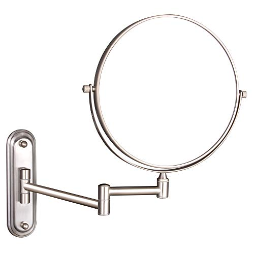 GURUN Wall Mount Magnifying Mirror Brushed Nickel Finish with 10x Magnification,8-Inch Two-Sided -