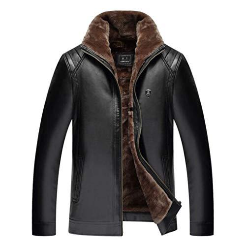 QJKai Herren Winter Lederjacke Warm Fleece verdicken Zip Stehkragen Lässige Parka Lederkurzmantel Top (Color : Black, Size : 62)