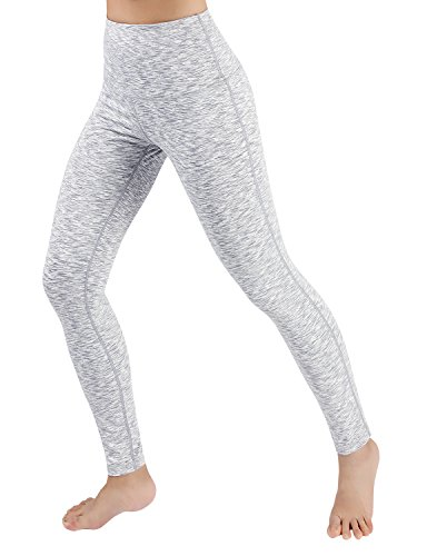ODODOS Women's High Waist Yoga Leggings, Tummy Control Workout Running Compression Yoga Leggings with Inner Pocket,SpaceDyeWhite,Large