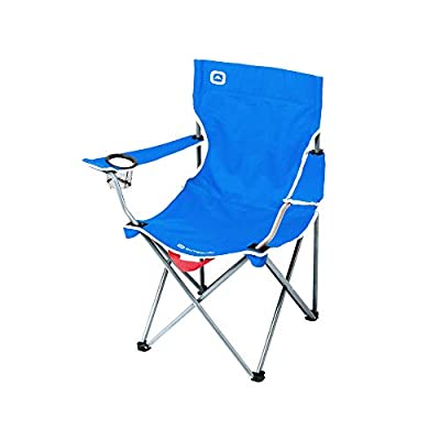 Outbound Camping Chair | Portable Foldable Quad Chair with Cup Holder | Lightweight and Perfect for The Beach, Backpacking, and The Outdoors | Blue