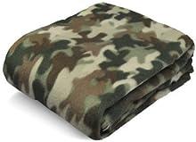 "Fleece Blanket, Green Camouflage Blanket, 50"" x 60"", All Purpose Throw Blanket, Camping Blanket, Warm Blanket, Light Blanket, Super Soft Blanket, Light and Portable Blanket"