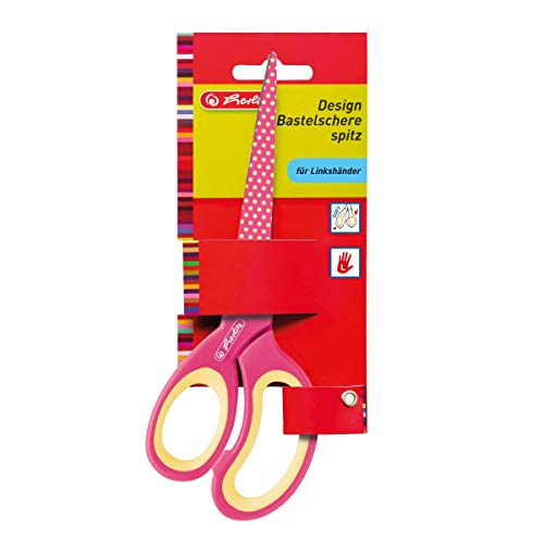 Herlitz 10897171 Design Bastelschere spitz für Linkshänder, Farblich Sortiert