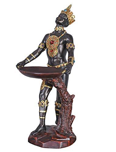 Unbekannt Exotische Skulptur im Kolonialstil schwarzer Diener mit Schale IS031 Palazzo Exklusiv
