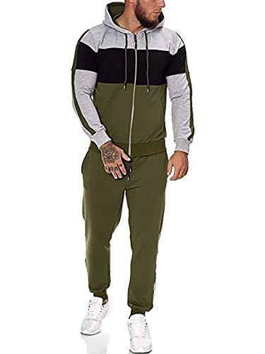 LAYAN-B Conjunto de ropa deportiva para hombre con capucha y cremallera para estar en el gimnasio, manga larga, parte inferior de la parte inferior, pantalones deportivos