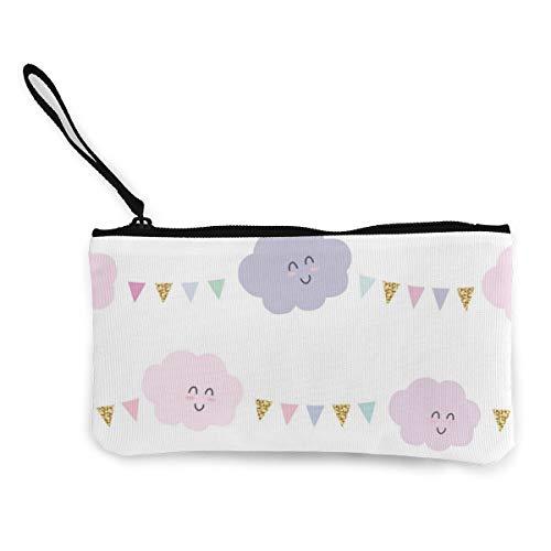 Wrution Kawaii Cloud Smiley Geldbörse aus Segeltuch, mit Reißverschluss, kleine Geldbörse für Frauen, tragbar, große Kapazität, personalisierbar