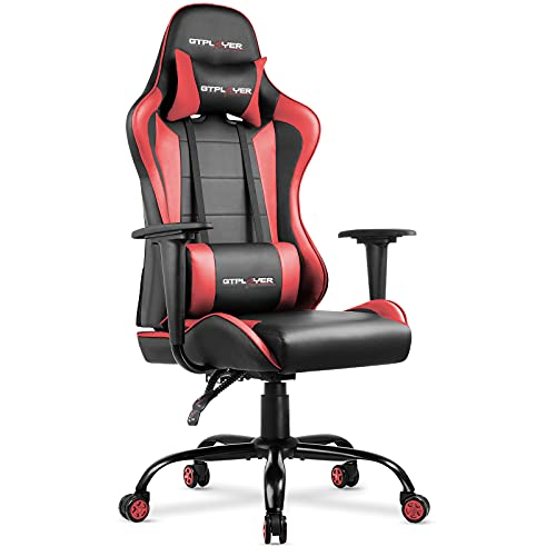 GTPLAYER Bürostuhl Gaming Stuhl Schreibtischstuhl Drehstuhl Ergonomisches Design mit Kissen und Rückenlehne Scharz-Rot