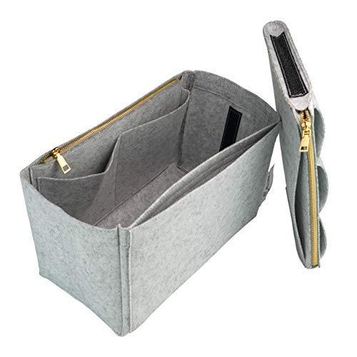 AT Allure-T Handtaschen Organizer. Taschenorganizer Filz mit Reißverschluss, herausnehmbarer Bag in Bag Einsatz Organizer Tasche Grau L