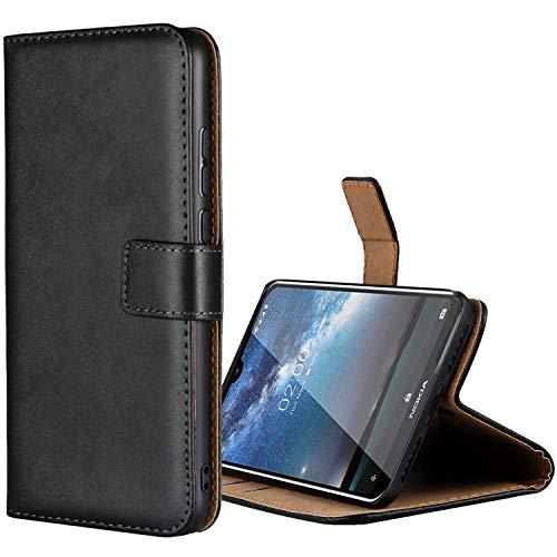 Aopan Nokia 2.2 Hülle, Flip Echt Ledertasche Handyhülle Brieftasche Schutzhülle für Nokia 2.2, Schwarz