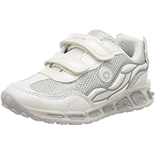 Geox Girls' J Shuttle Girl C Low-top Low-Top Sneakers, Silver (White/Silver), 11 (Manufacturer Size 29)