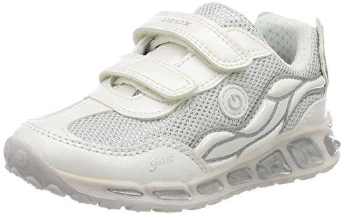 Geox J Shuttle Girl C, Zapatillas Niñas, Plateado (White/Silver), 30 EU