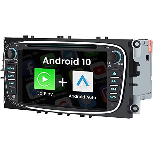 AWESAFE Autoradio Android 10 für Ford, 2GB+32GB, unterstützt DAB WLAN Bluetooth CD DVD Doppel Din Radio mit 7 Zoll Bildschirm - Schwarz