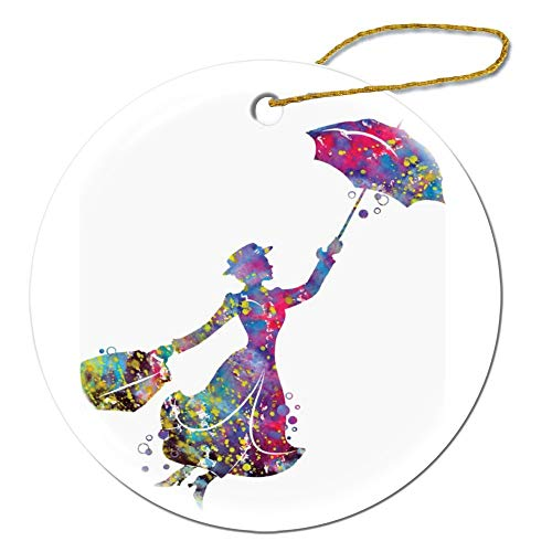 VinMea Mary Poppins Round Decorative Hanging Ornament For Christmas Tree, Porcelain, 3-Inch