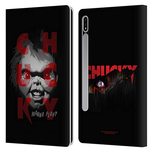 Head Case Designs Oficial Child'S Play Quiero Jugar 3 Arte Clave Carcasa de Cuero Tipo Libro Compatible con Samsung Galaxy Tab S7 5G