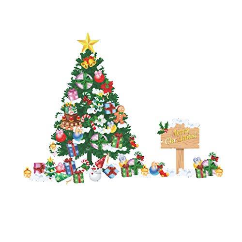 L_shop Weihnachtsbaum Wandaufkleber Weihnachten Schneeflocke Fenster Aufkleber Weihnachten Abnehmbare Dekoration Aufkleber
