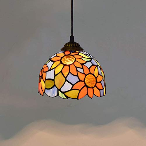 YUNZHI Durable Exquisite Vintage Cyan and Orange Stained Glass Sunflower Lampshades 8 Inch Chandelier with Wrought Iron Ceiling Plate