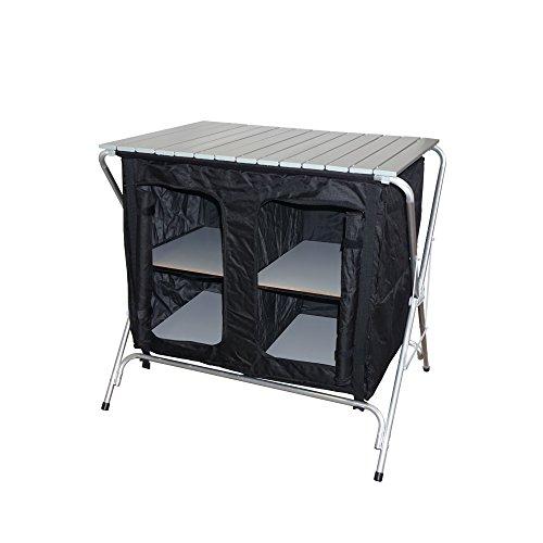 Hosa - Mueble Cocina Armario Plegable 4 Estantes 84.5 x 60.5 x 84 cm. Ropero de Camping Despensa Ligero 4 Compartimentos, Estructura de Aluminio