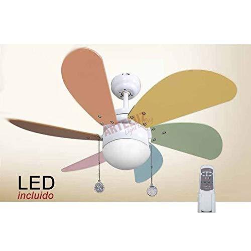 Pack Ventilador infantil de LED y Mando a distancia color pastel.