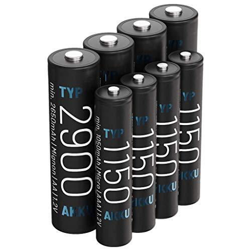 ABSINA 4 pilas AA Mignon 2900 y 4 pilas AAA Micro 1150 – NiMH recargables con 1,2 V – Baterías para dispositivos de alto consumo – Baterías ideales para flash, controlador Wii & Xbox, teléfono