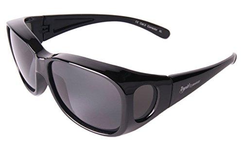 Rapid Eyewear Negro SOBRE GAFAS DE SOL encima de graduadas: polarizadas. Talla mediano-grande. Para Hombres y Mujeres. Protección UV400. Ideal para conducción, pesca etc