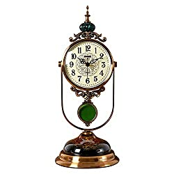 Retro Table Clock,Desk Clocks,Metal Pendulum Clock,Classic Mantel Clock, for Living Room, Office, Kitchen, Bedside Desktop-Clock (Color : Metallic)