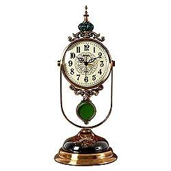 Retro Table Clock,Desk Clocks,Metal Pendulum Clock,Classic Mantel Clock, for Living Room, Office, Kitchen, Bedside Desktop-Clock (Color : Metallic)