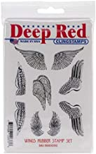 Deep Red Wings Rubber Cling Stamp Set