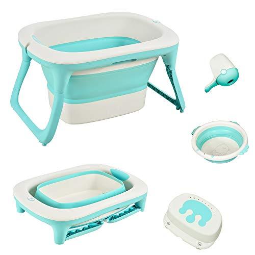HOMCOM Babybadewanne mit Waschbecken und Shampoobecher, faltbare Babywanne, Badewanne für Baby, Kunststoff, Grün, 81,5 x 60 x 46,5 cm