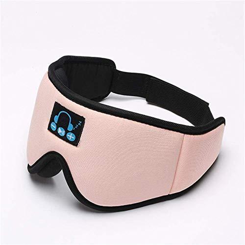 Verbesserte 3D-Schlaf-Kopfhörer Augenmaske Bluetooth Schlafmaske mit verstellbarem Velcro Stirnband Wireless-Blindfold Maske for Naps Yoga Flugzeug Nacht, Schwarz MEI (Color : Pink)