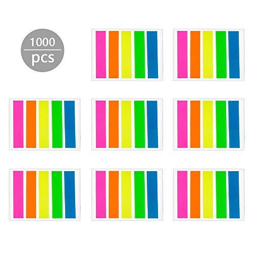 ZMREN 1000 Piezas Marcadores adhesivos, Notas etiquetas adhesivas de papel Marcador de Página, Índices Pequeños Notas Tiras de Resaltador para escuela y oficina