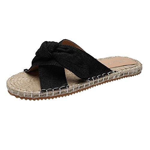 CCJW Sandalias de tacón de cuña baja con puntera y puntera baja, cómodas sandalias sin cordones con pendiente-negro_42, sandalias de dedo abierto para mujer kshu