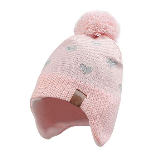 Baby Strickmütze,Unisex Baby Mütze Kleinkind Earflap Fleece Mützen Baumwolle Warm Wintermütze für Kinder Jungen Mädchen