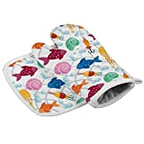 Zeyustge Set of Oven Mitt (7 x 13 Inches) and Pot Holder (8 x 8 Inches), 100% Cotton, Machine Washable (Floral Pattern)