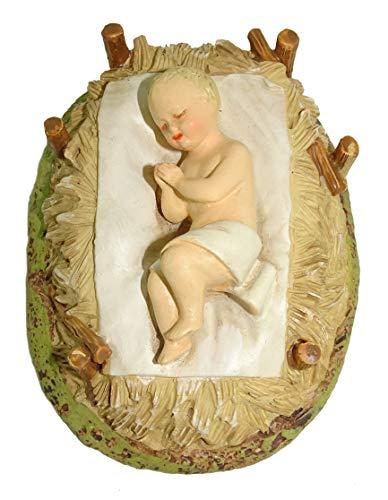 Ferrari & Arrighetti Nativity Scene Figurine: Baby Jesus with Cradle - Martino Landi Collection - 16 cm