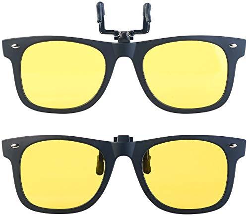 PEARL Brille-Aufsatz: 2er-Set Nachtsicht-Brillenclips im Retro-Look, polarisiert, UV400 (Pol-Brille)